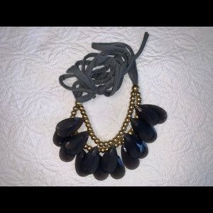 Gray stone statement necklace